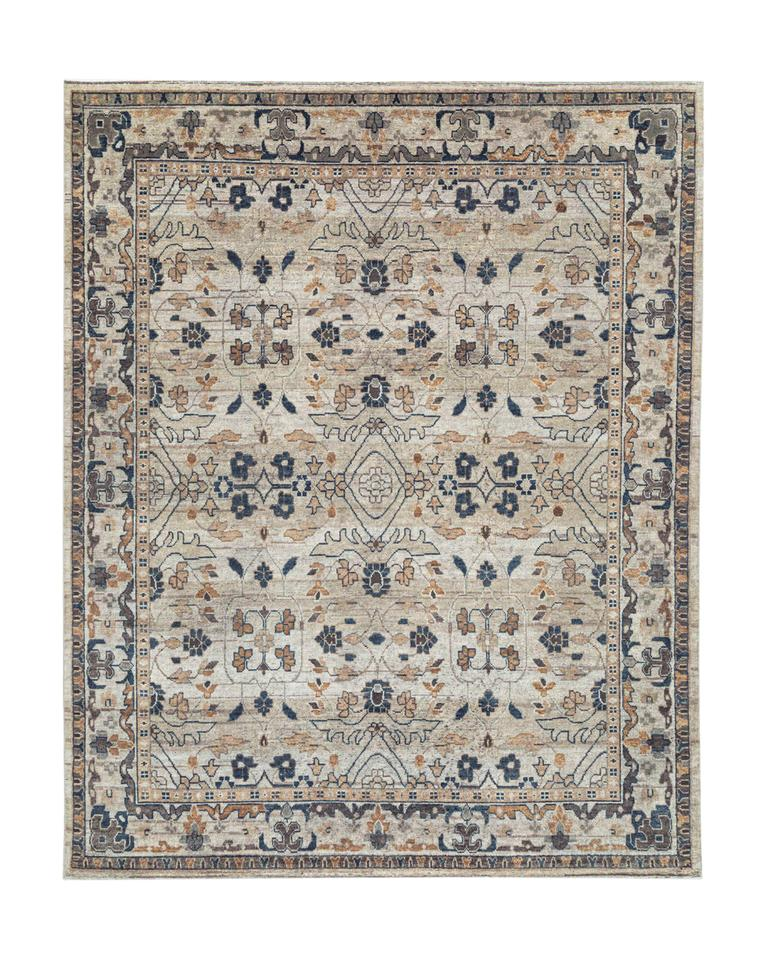 Kasuri Hand-Knotted Rug – Natural & Charcoal / 8′ x 10′
