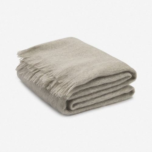 Aimee Mohair Throw, Warm Gray