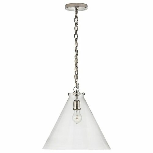 Katie Conical Pendant Light by Visual Comfort - Color: Silver - Finish: Polished Nickel with Clear Glass - (TOB 5226PN/G6-CG)