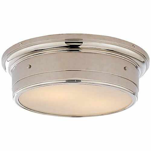 Siena Flush Mount Ceiling Light by Visual Comfort - Color: White - Finish: Chrome - (SS 4016CH-WG)