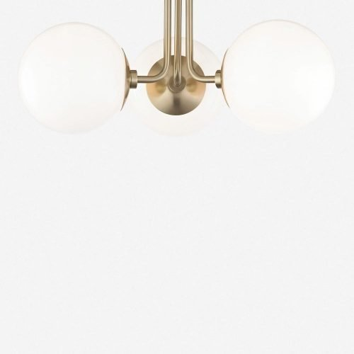 Lia 3-Light Semi-Flush Mount Light, Aged Brass
