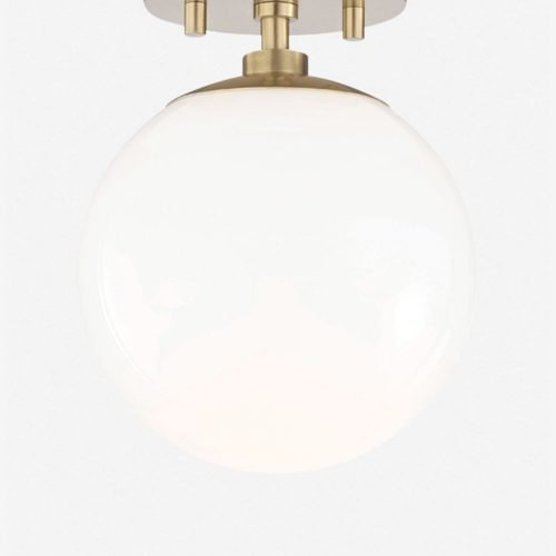 Lia Semi-Flush Mount Light, Aged Brass